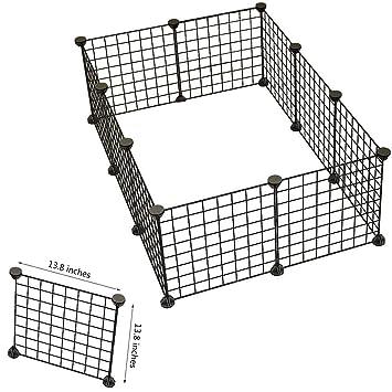 Perro Animales Juguete Portable alambre de metal grandes Hofmeister - Negro - Valla para conejos, cobayas o otros animales pequeños (jaula: Amazon.es: ...