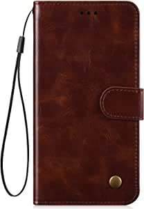 IKASEFU Compatible with Samsung Galaxy S10 Case luxury Retro Pu Leather Wallet Strap Case Card Slots Shockproof Magnetic Folio Flip Protective Soft Bumper Cover Case,Dark brown