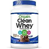Orgain Grass Fed Clean Whey Protein Powder, Creamy Chocolate Fudge - Low Net Carbs, Gluten Free, Soy Free, No Sugar Added, Ko