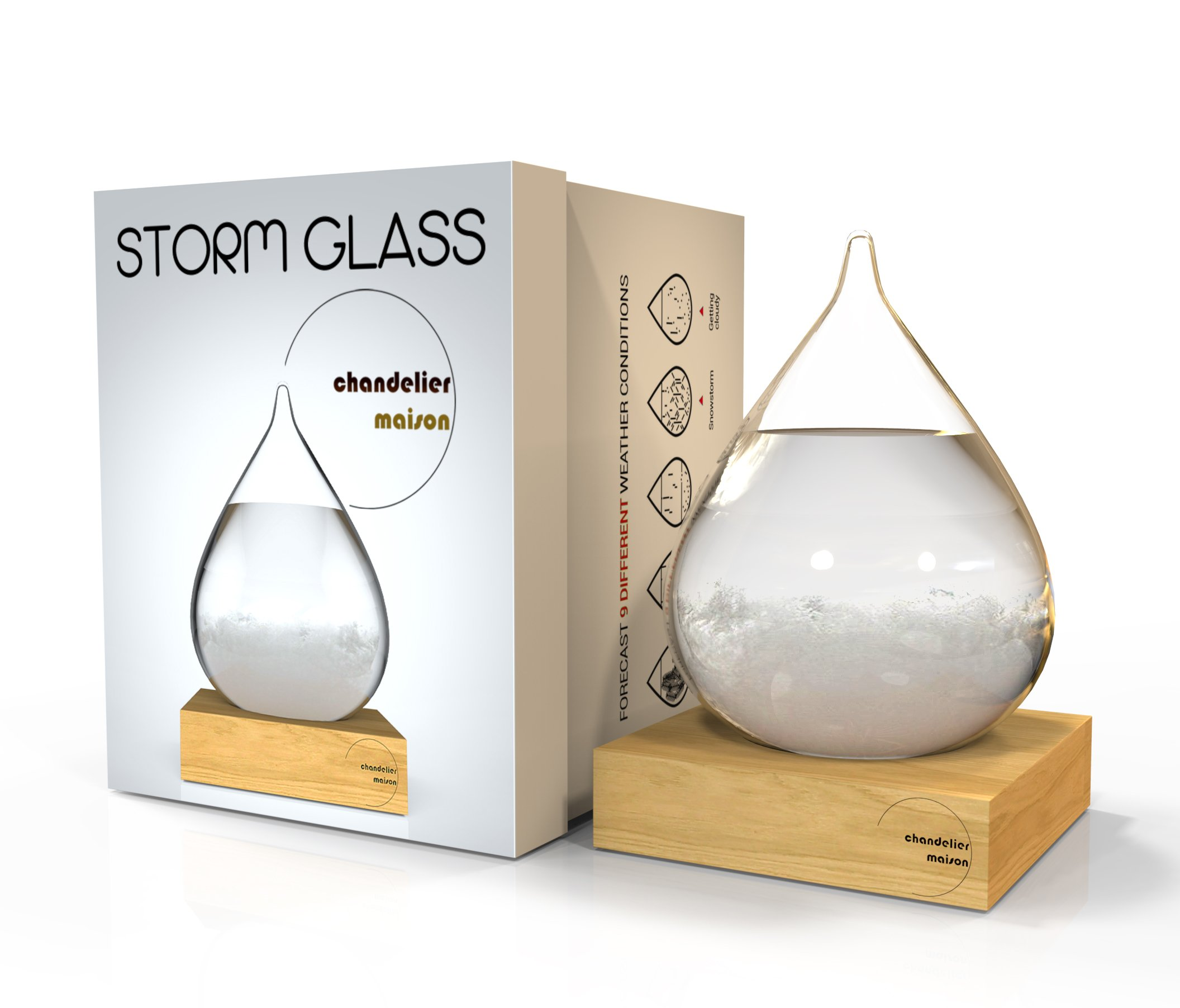 Chandelier Maison Storm Glass for Home & Office Decoration, EU Weather Forecaster with glass water drop shaped and wood display