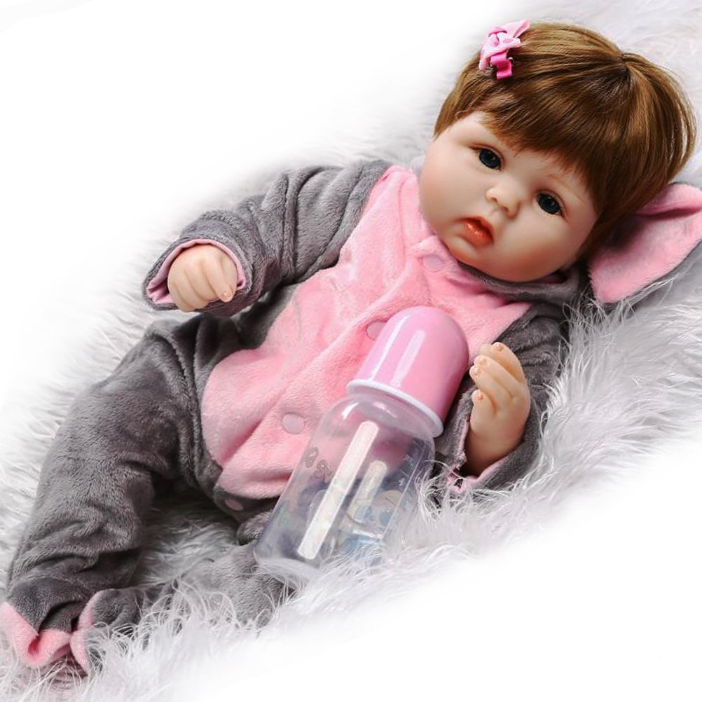 ZIYIUI Reborn Baby Doll with Magnetic pacifier 16 Inch Soft Silicone Vinyl Newborn Baby Dolls 40 cm Girl's Gift