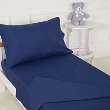 TILLYOU 3 Piece Microfiber Toddler Sheet Set (Navy Blue, Fitted Sheet, Top