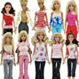 5 x Randomly selected Barbie Sindy doll's trouser outfit set & 5 pairs of shoes/boots - posted from London by Fat-Catz