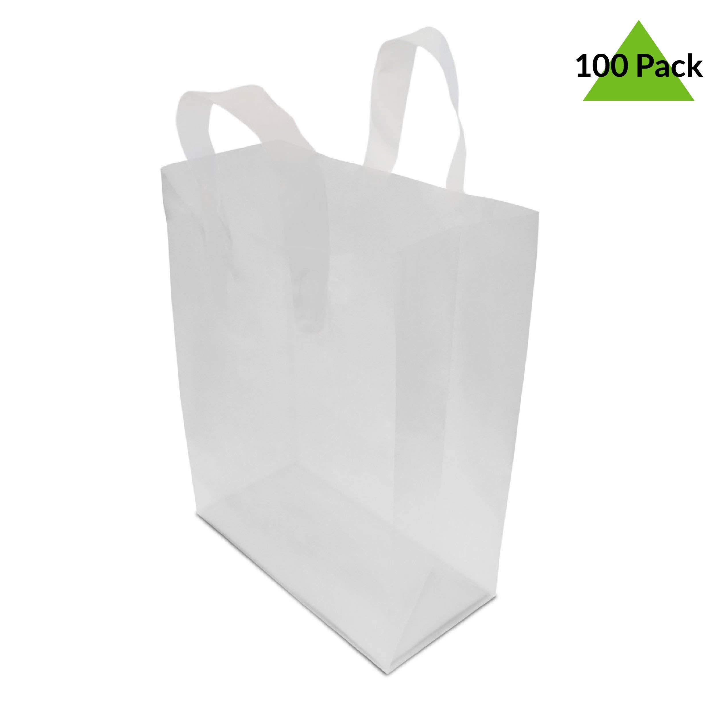 8x4x10'' 100 Pcs. Frosted Clear Plastic Bags with Handles, Shopping Bags, Gift Bags, Take Out Bags with Cardboard Bottom