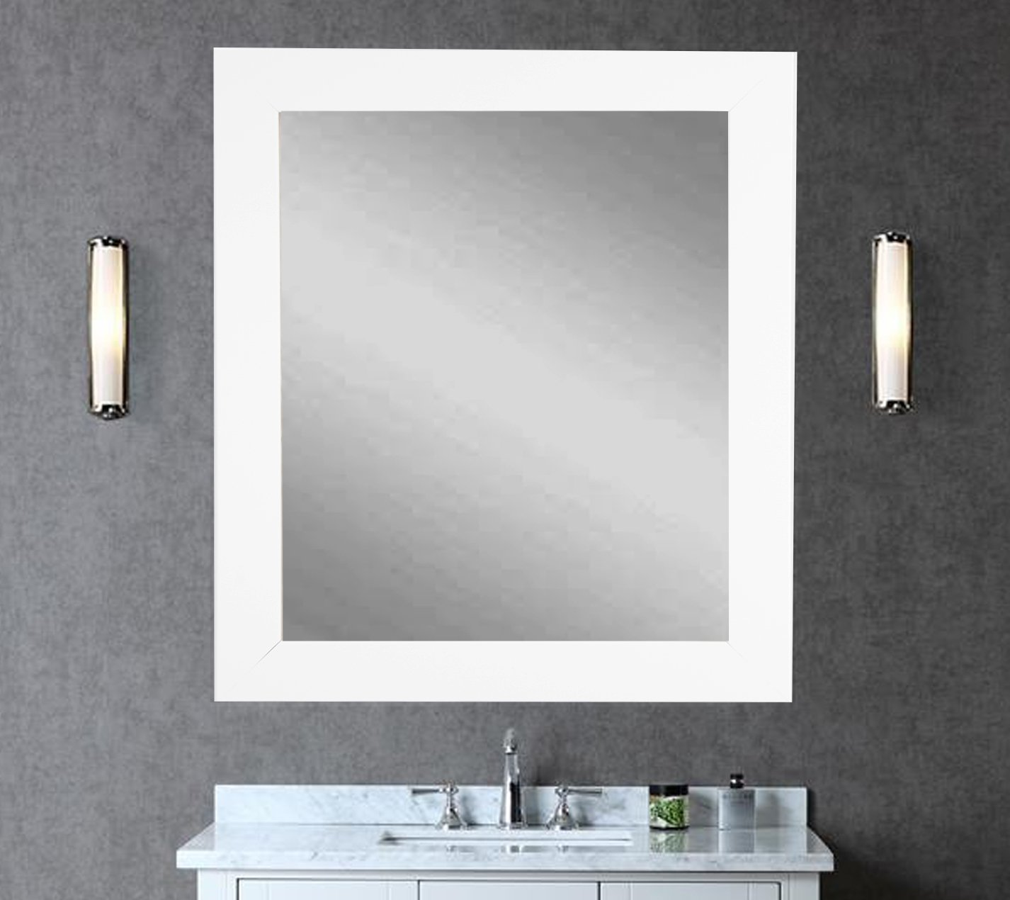 BrandtWorks Wall Mirror, 32'' x 36'', Pure White
