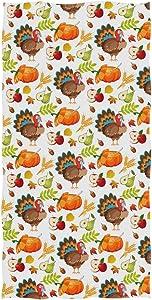 Wamika Cute Turkey Apple Pear Harvest Hand Towels 16x30 in Bathroom Towel, Ultra Soft Highly Absorbent Small Bath Towel Fall Autumn Thanksgiving Day Bathroom Decor Gifts