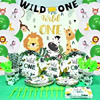 Wild One Birthday Party Supplies Wild One Party Decorations Include Paper Plates Napkins Froks Spoons Animal Printed…