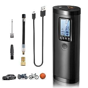 Vastar Compresor de Aire Portátil - Bomba Neumáticos con Pantalla Digital, Potencia Móvil, Luz LED, 5 Modos para Pelota/Bicicleta/Auto/Anillo de Natación Batería de Litio100PSI, 2000mAh, 20 l/min