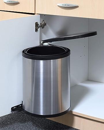 Spetebo Edelstahl Einbau Mülleimer - 12 Liter - Abfalleimer Abfallsammler  Schwenkeimer Abfallbehälter Küche