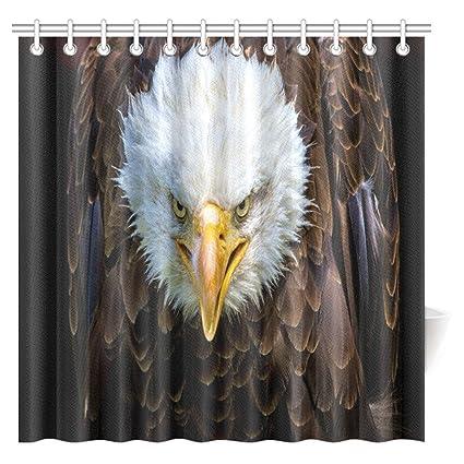 InterestPrint Animal Decor Shower Curtain Bald Eagle Bathroom Set With Hooks 72