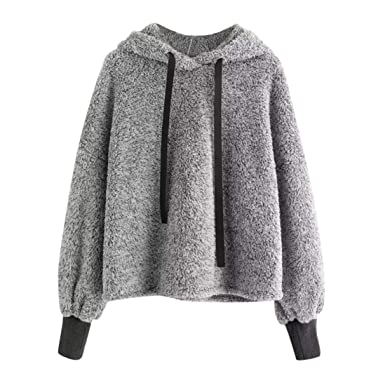 3592276902b Iuhan Women's Hoodies Top Long Sleeve Hooded Sweatshirt Faux Fur Crop  Hoodie Blouse (Small,