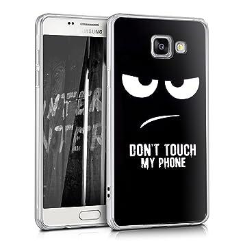kwmobile Funda para Samsung Galaxy A5 (2016) - Carcasa de TPU para móvil y diseño Dont Touch my Phone en Blanco/Negro