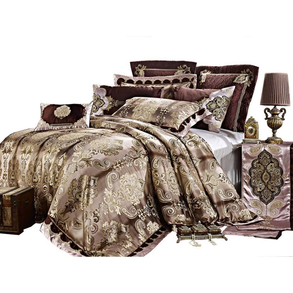 コンフォート スペース - ジャカード フェイク シルク ベッド 掛け布団 4 枚-コーヒー色 ブルー ディープポケット 綿サテン 抗アレルギー 寝具カバーセット-A B07NWF8HK9