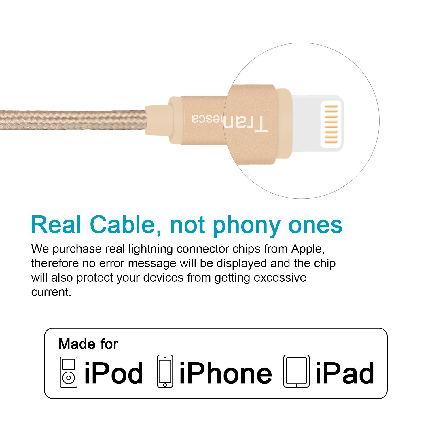 Tranesca Nylon Braided Apple Charging Cable for iPhone X,iPhone8,iPhone 7/7  Plus/iPhone 6/6s/iPad Air/iPad Pro and More-Gold (6 Feet/1 8 Meter)