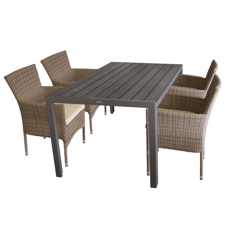 5tlg gartengarnitur gartentisch polywood 150x90cm 4x gartensessel polyrattan sessel stapelbar. Black Bedroom Furniture Sets. Home Design Ideas