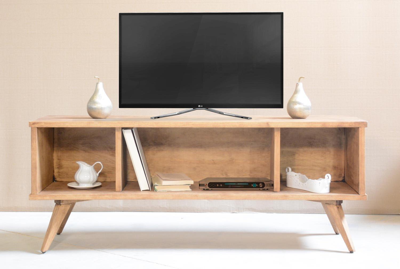 Mueble TV, Mueble televisión, Mueble de salón, Fabricado a Mano en España, MadeinSpain, Mesa televisión, Mueble TV salón, diseño Vintage, Madera Maciza Natural, terminación Cera Natural.: Amazon.es: Electrónica