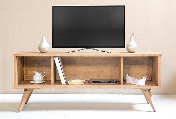 Mueble para TV, Mueble de televisión, Muebles para salón, Madera Maciza, Fabricado en España, Pintado a la Cera artesanalmente, Estilo escandinavo: Amazon.es: Electrónica