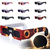 Eclipse Glasses, Solar Eclipse Glasses, COOLQO [Eye Protection] CE and ISO Certified Safe Shades [safety glasses] for Direct Sun Viewing (10 Pack) Assorted #01