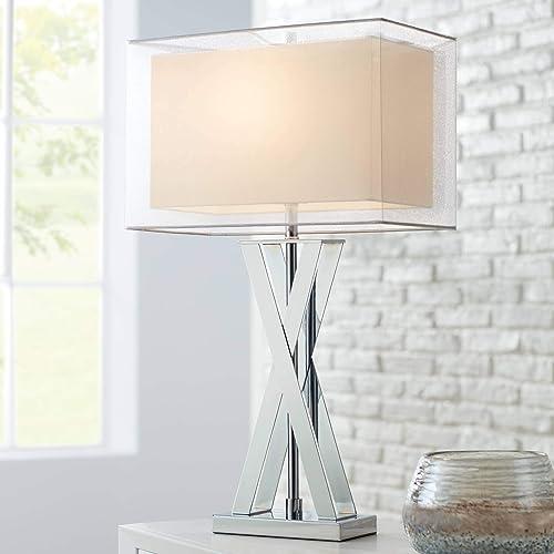 Proxima Modern Table Lamp Chrome Metal X-Shaped Base Rectangular Double Shade for Living Room Family Bedroom Bedside – Possini Euro Design
