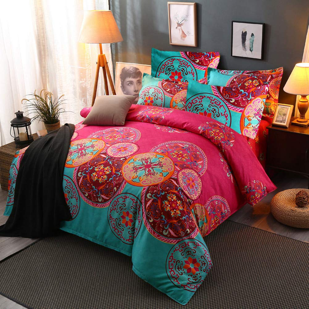 Argstar 3 Pcs Lightweight Microfiber Boho Duvet Cover Set Queen, 3D Bohemian Exotic Floral Bedding Set, Bright Pink Mandala Comforter Cover