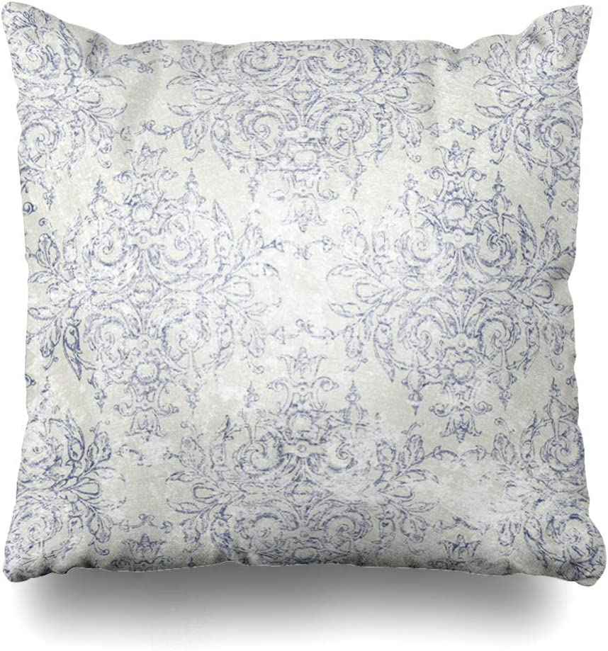 NOWCustom Throw Pillow Cover Distressed Blue Antiqued Taupe Navy Toile French Beige Delicate Filigree Aged Antique Dark Motif Zippered Pillowcase Square Size 18 x 18 Inches Home Decor Pillow Case