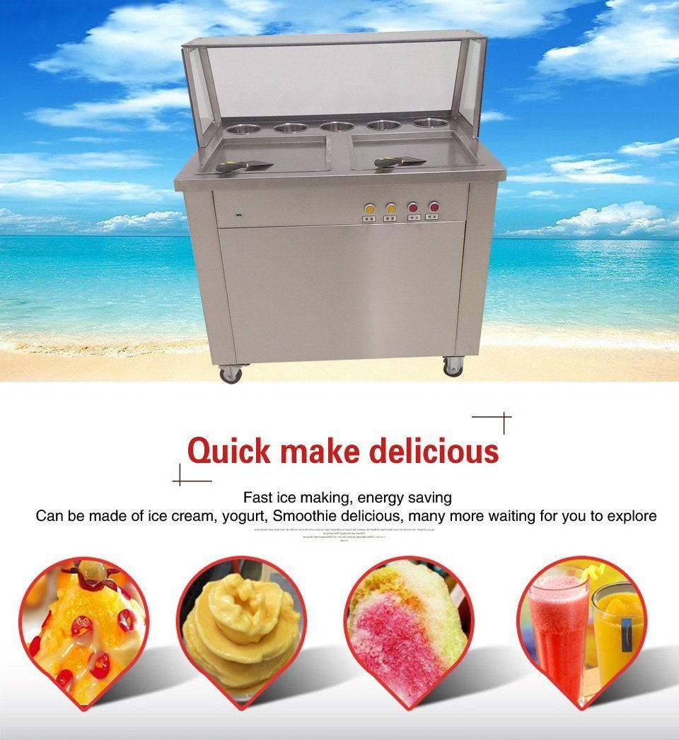 fruit milk yogurt ice cream roll making machine Thai double square pans fried ice cream machinbe with 5 boxe