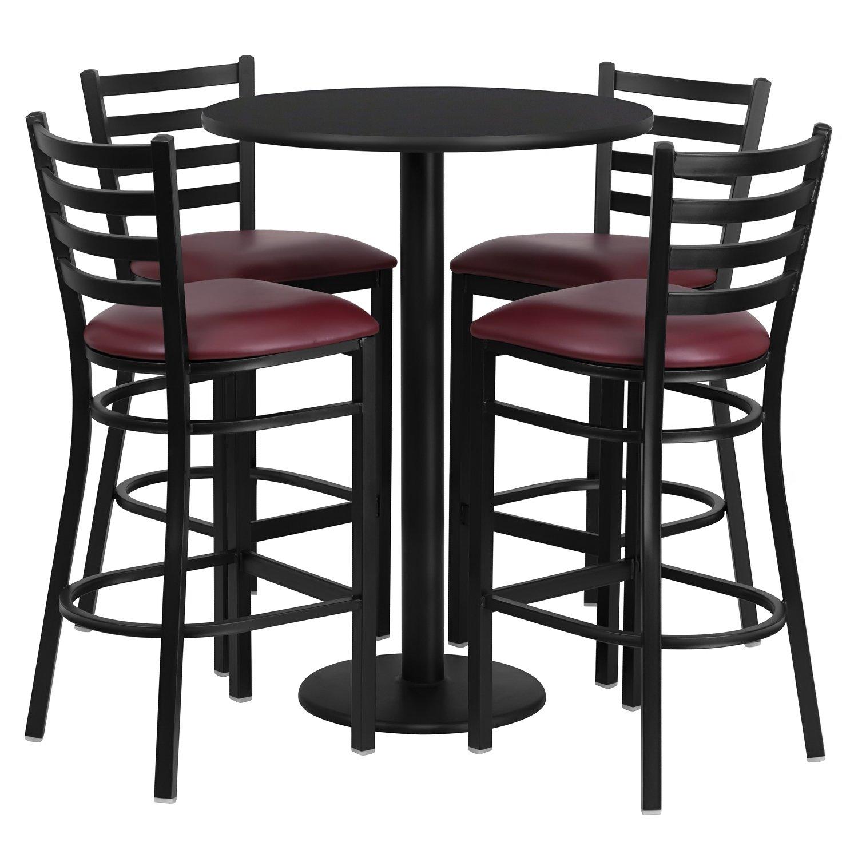 Amazon com flash furniture 30 round black laminate table set with 4 ladder back metal barstools black vinyl seat table chair sets