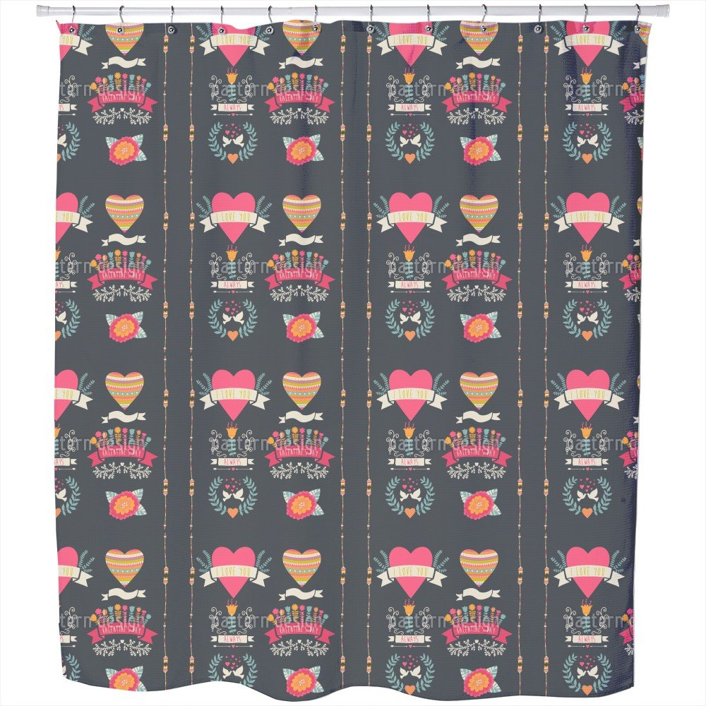 Uneekee Every Day Is Valentines Day Shower Curtain: Large Waterproof Luxurious Bathroom Design Woven Fabric by uneekee