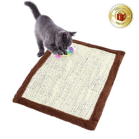 Ducomi® Alfombra rascador de cuerda de sisal para gatos, con ratoncito de peluche - Estimula la ...
