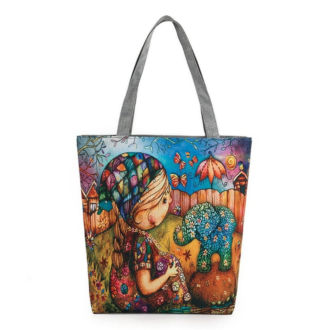 Luckywe Stylish Crossbody Messenger Classic Business Shoulder Bag Canvas Painting Cartoon Zipper A17 Multicolor2