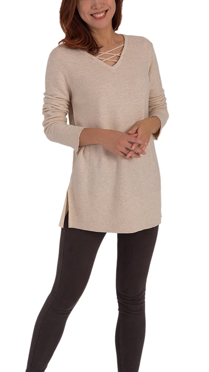 TEX & FREE Women Crisscross V Neck Regular Fit Pullover Side Slit Wool Sweater Top Anntex textile Co. Ltd.