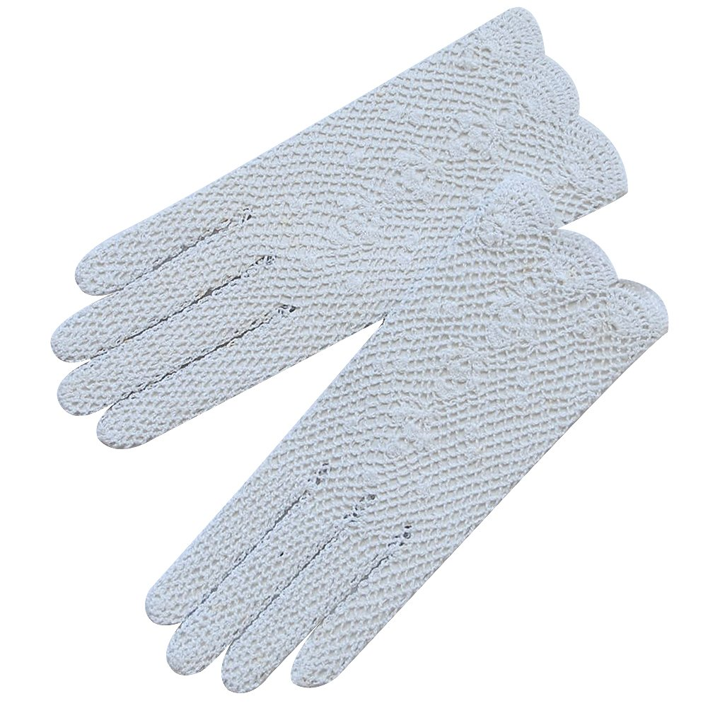 ZaZa Bridal Lovely Cotton Crochet Gloves with a Delicated Floral Detail-White