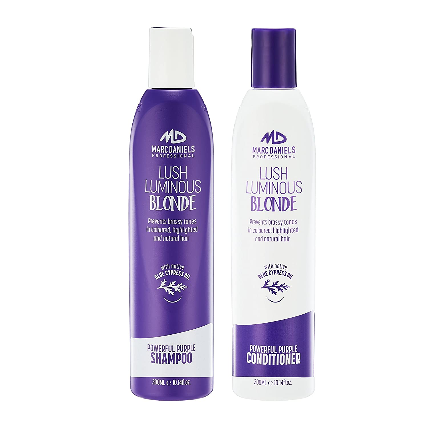 Powerful Purple Shampoo & Conditioner Set, Sulfate Free - Tones, Prevents, Balances Brassiness in Blonde, Color Treated, Silver, Grey Hair - Paraben Free, Vegan Friendly by MARC DANIELS Professional Lenan Corp
