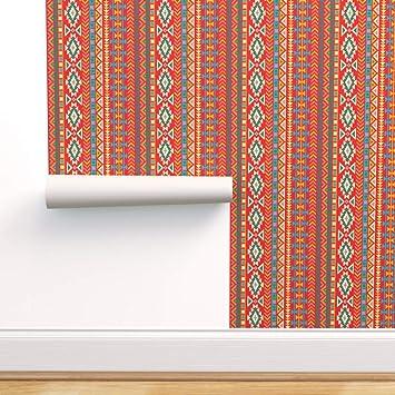 Southwestern Removable Wallpaper Geometric Wallpaper Boho Wallpaper Southwestern Decor Red Wallpaper W1182 Aztec Wallpaper