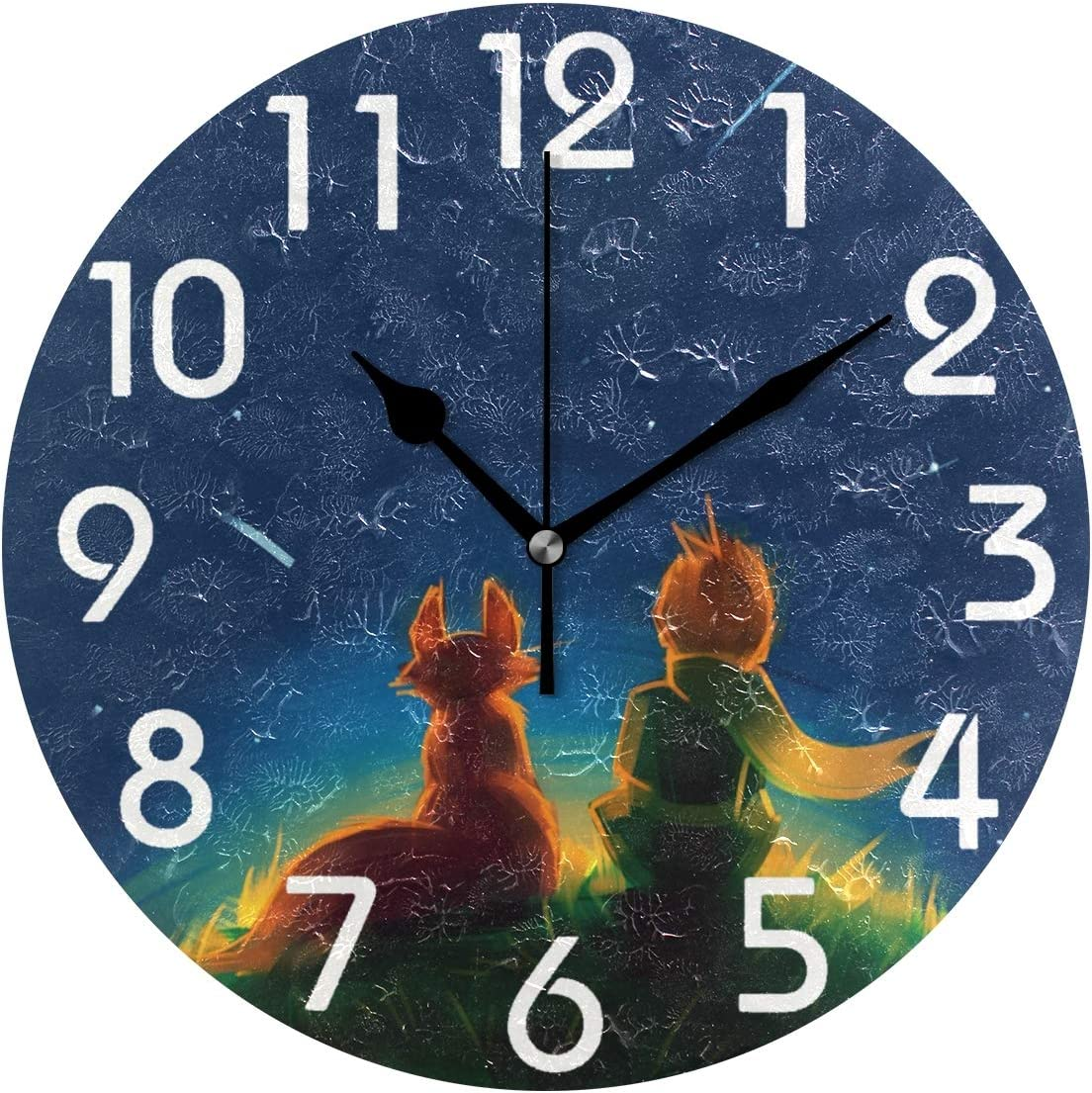 Naanle Little Prince and Fox Sitting on Grass Under Starry Sky Print Round Wall Clock Decorative, 9.5 Inch Battery Operated Quartz Analog Quiet Desk Clock for Home,Office,School