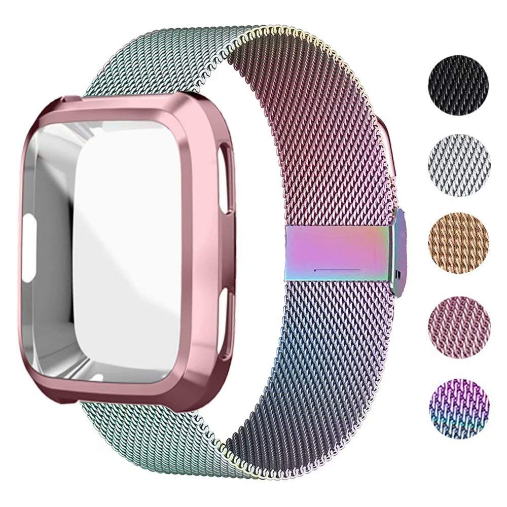 UHKZ Compatible Fitbit Versa Bands, Stainless Steel Mesh Sport Metal Wristband Loop Accessories for Women Men with Fitbit Versa Screen Protector Case Compatible Fitbit Versa Smartwatch,Colorful,S by UHKZ