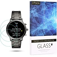 BECROWM Tempered Glass Screen Protector 9H Hardness Protective Glass Compatible with Fossil Carlyle HR(Gen 5),2.5D Full Coverage High Definition Premium Clear 3 Packs Smartwatch Accessories