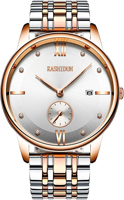 Kashidun Hombres de la muñeca relojes primera marca lujo Casual analógico de cuarzo oro ejército watches-white. mysl-jb