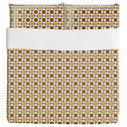 Portuguese Tiles Duvet Bed Set 3 Piece Set Duvet Cover - 2 Pillow Shams - Luxury Microfiber, Soft, Breathable by uneekee