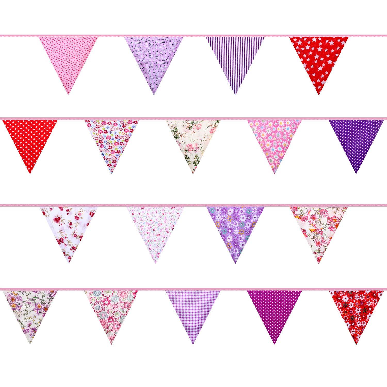 Banderines de Tela Hechos de 36 Banderas en 18 Patrones de Estilos Diferentes Estilo 10 33 Pies de Banderines de Doble Cara Elegantes para Fiesta de Verano Boda Cumplea/ños Bienvenida a Beb/é