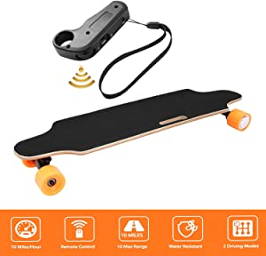 shaofu Electric Skateboard Youth Electric Longboard with Wireless Remote Control, 12 MPH Top Speed, 10 Miles Range, 7 Layers Maple Longboard(US Stock)