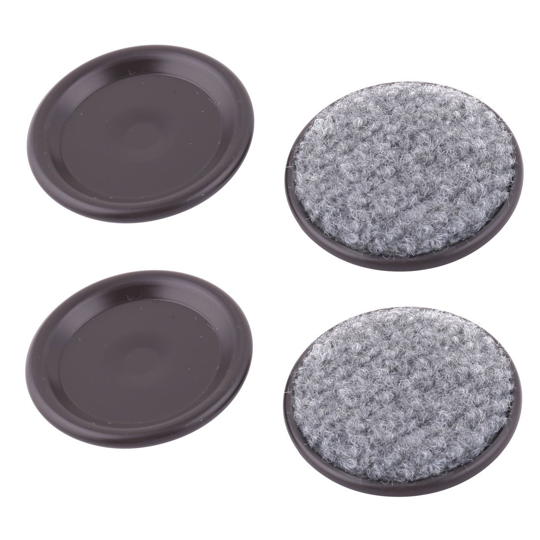 uxcell Reusable Aluminum 2.3'' Round Furniture Slider Pad for Hard Floor Surfaces, Sofa Legs Chair Table Foot Anti Noise with Carpeted Bottoms, 4 Pieces