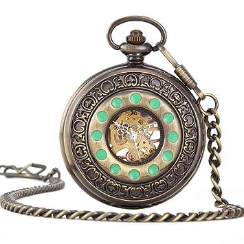 YUNDING Reloj De Bolsillo Digital Romano, Look Vintage/Movimiento Mecánico De Alta Precisión, Steampunk/Ventana Transparente, Antigüedades/Regalos: ...