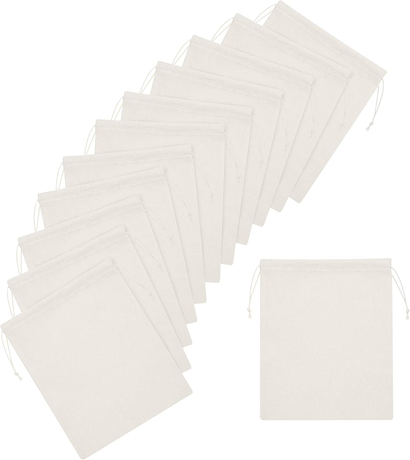100 Percent Cotton Muslin Drawstring Bags 12-Pack For Storage Pantry Gifts - Unbleached (10 x 12 inch - 12 pack, Beige)