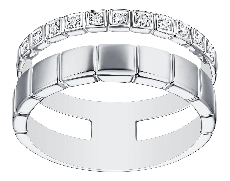 Prism Jewel 0.09CT G-H//SI1 Natural Diamond Light Weight 2-Row Wedding Band