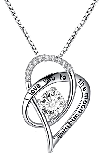 HUABOLA CALYN Necklace 925 Sterling Silver Zirconia Pendant 'I Love You to the Moon and Back C3AHWlVHPa