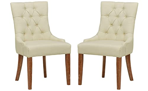 Stone Beam Kristy Tufted Dining Room Kitchen Chair, Set of 2, 36.5 H, Ivory