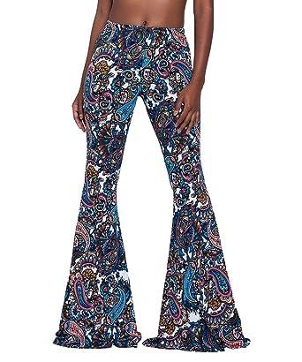 plus de photos aa2ba 7d03d Bigood Femme Vogue Pantalon à Pattes d'éléphant Lâche Longue Imprimé
