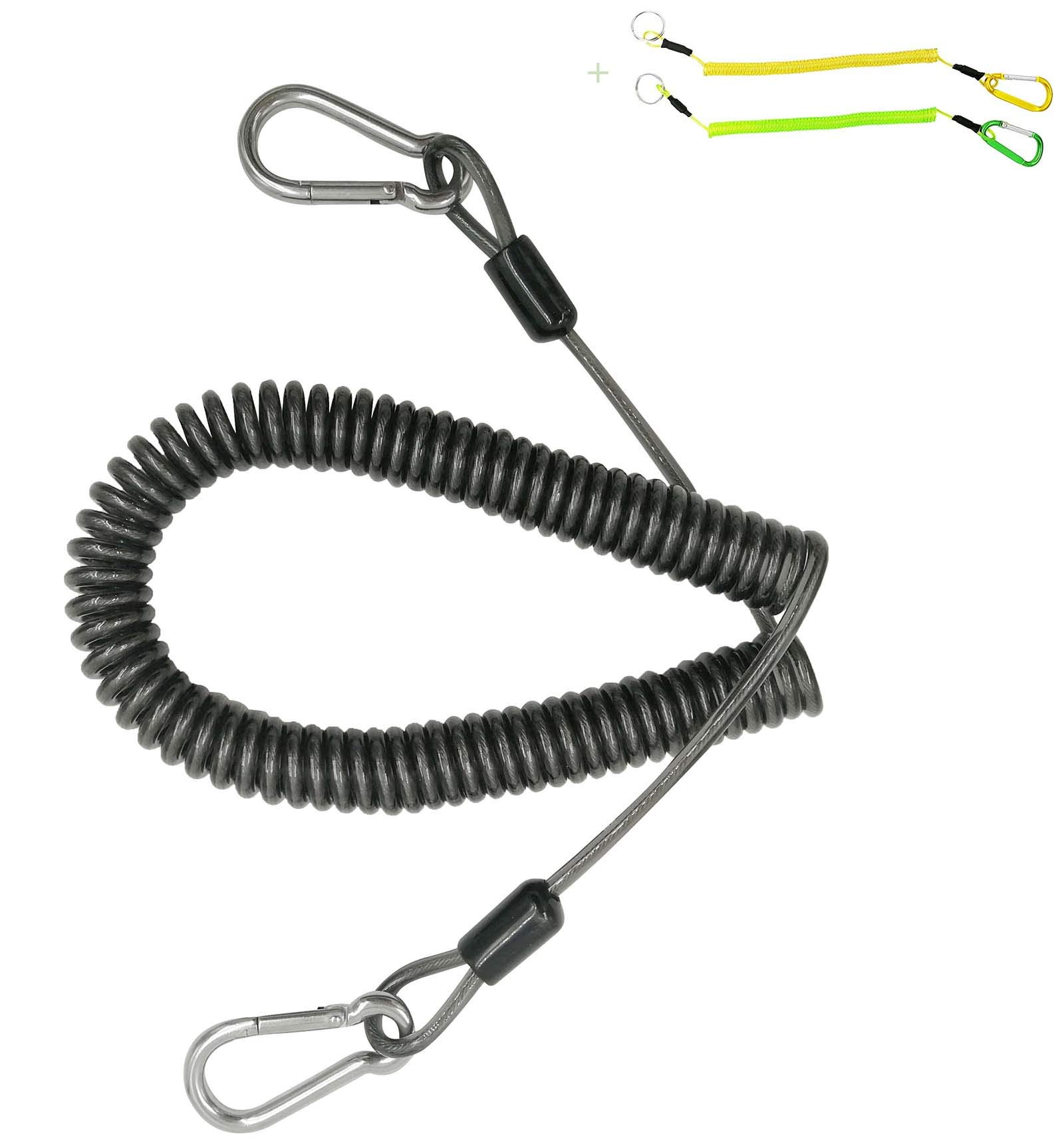 2pcs Retractable Steel Wire Coiled Lanyard Safety Rope /& Lock Carabiner 60cm