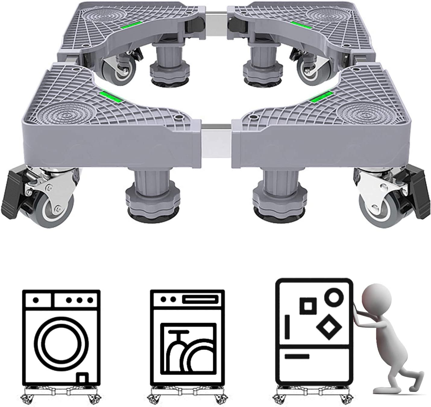 OHOH Adjustable Mobile Washing Machine Base with 4 Wheels Swivel Casters Locking /& 4 Lifting Feet Adjustable Washing Machine Stand Base Mobile Roller for Furniture